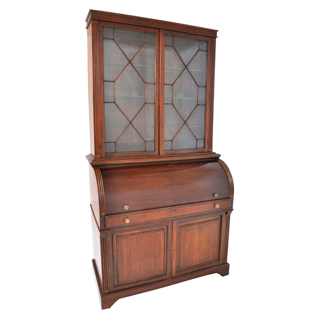 Fine Antique 19th Century Mahogany Cylinder Bookcase / Secretary / Desk, Circa 1860