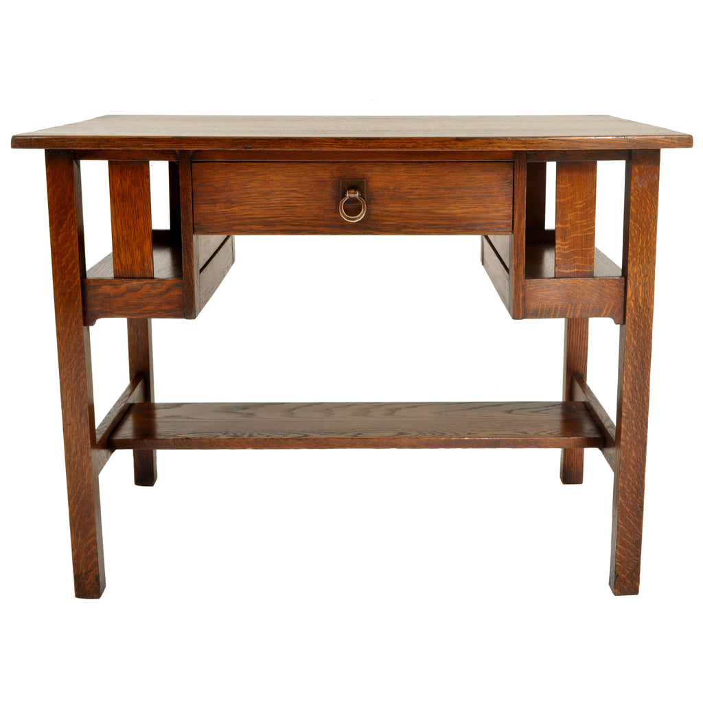 Antique Stickley Brothers Mission Oak Writing Desk / Library Table, circa 1905