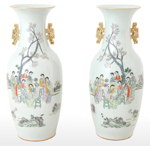 Pair of Monumental Antique Chinese Qing Dynasty Porcelain Vases, circa 1900
