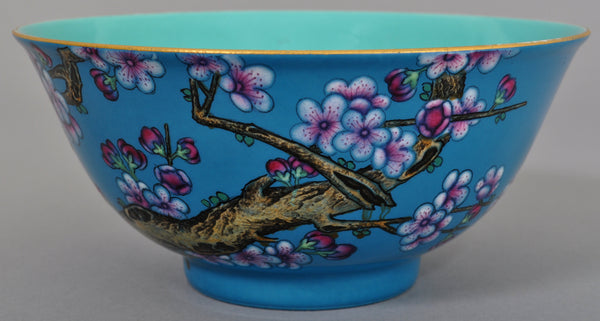 Antique 19th Century Chinese Porcelain Blue Enamel Bowl