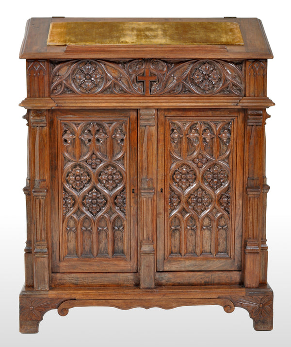 Antique American Gothic Revival Carved Oak Lectern / Cabinet / Desk, circa 1860