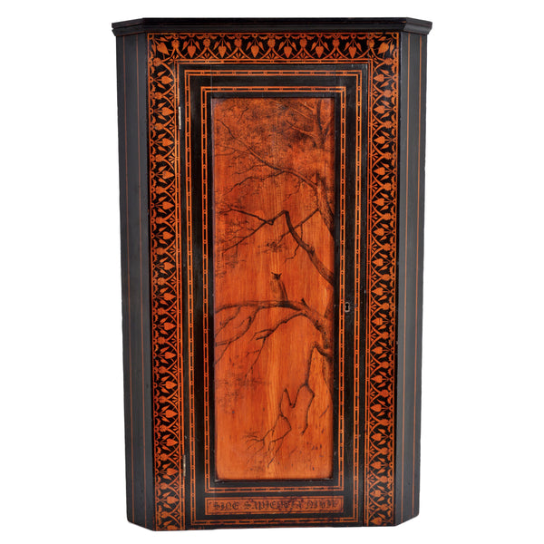 Antique American Aesthetic Movement Painted Corner Cabinet, signed, circa 1875