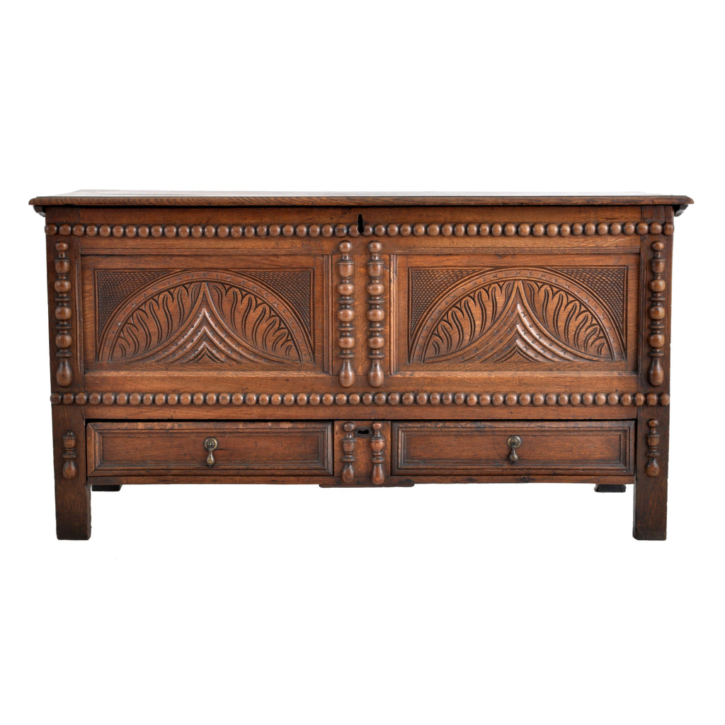 Antique 18th Century English Carved Oak William & Mary Mule Chest / Coffer, Circa 1720