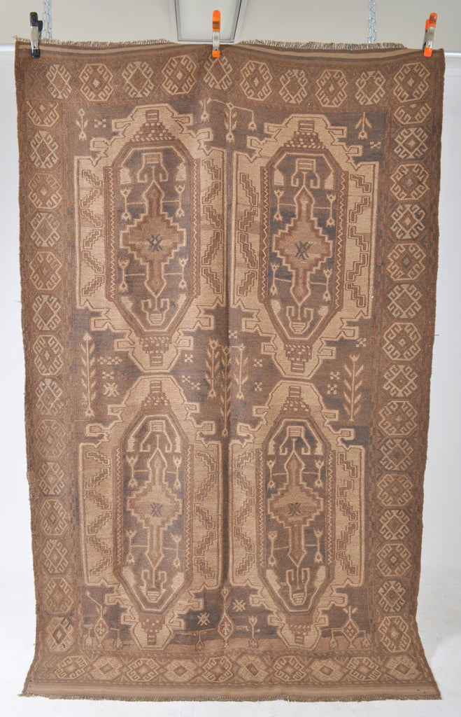 Antique Vegetable Dyed Soumak Kilim Carpet, Circa 1920