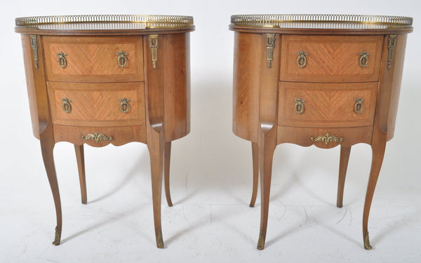 Pair of Antique French Louis XVI Ormolu Mounted Marquetry Oval Side Tables, Circa 1900