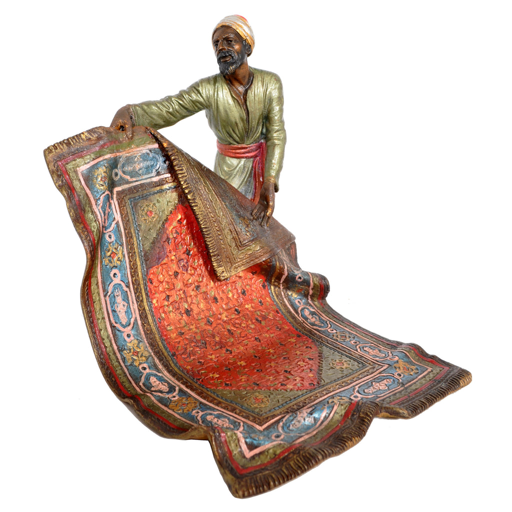 Antique Austrian Cold-Painted Bronze Arab Carpet Seller by Franz Bergmann, circa 1900