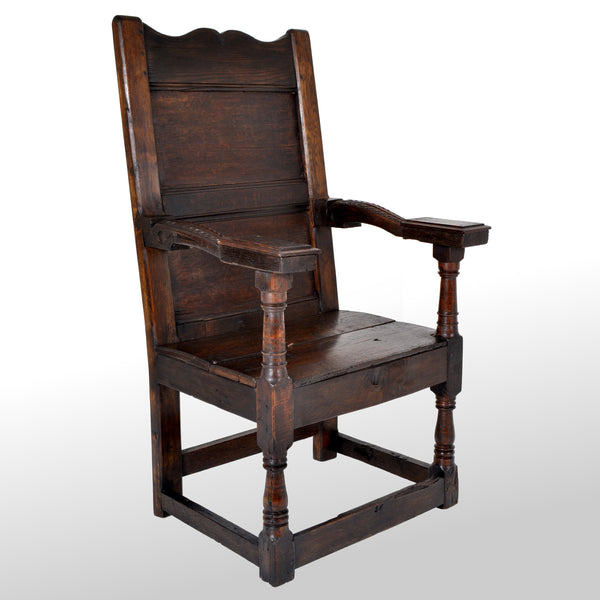 Antique English Oak Jacobean Commonwealth Period Wainscot Armchair, circa 1650