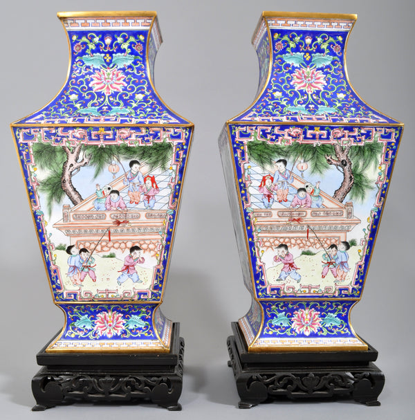 Pair of Large Antique Chinese Qing Dynasty Canton Enamel on Copper Vases, Circa 1880