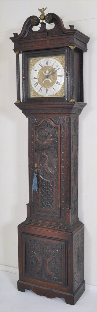Antique English George III 30-Hour Carved Ebonized Oak Longcase/Grandfather Clock by John Stancliffe of Halifax (1706-1780), Circa 1760