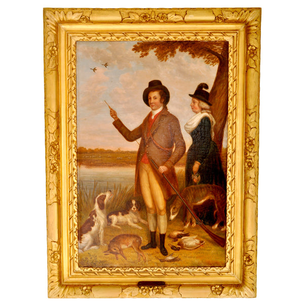 Antique Country House Georgian Hunting Portrait, Oil on Canvas, circa 1750