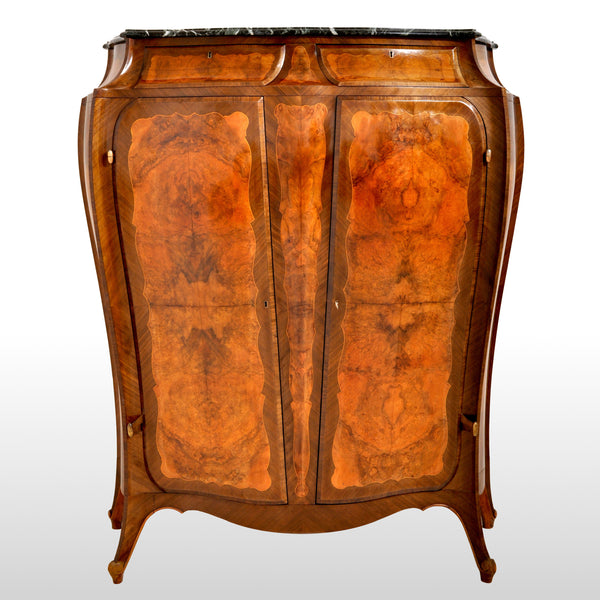 Antique French Art Nouveau Louis XV Inlaid Walnut Tall Marble Top Cabinet, circa 1900