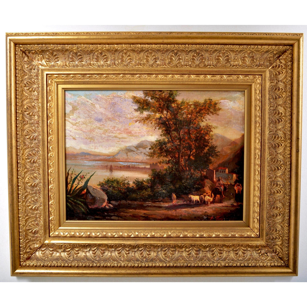 19th century French Barbizon School Painting Oil on Canvas Landscape Signed Marin Circa 1840