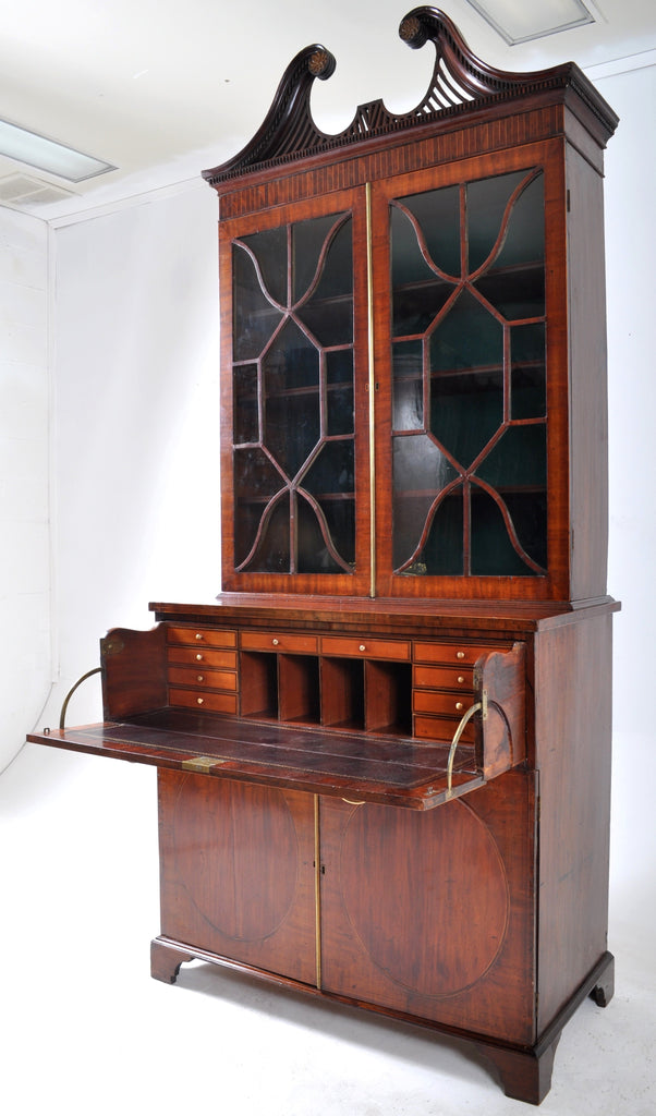 Historically Important Federal Period Inlaid Mahogany Secretary Bookcase by John Shaw of Annapolis, Circa 1795
