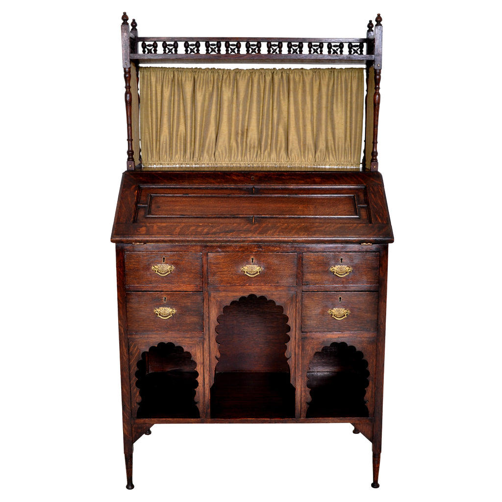 Liberty & Co Arts & Crafts Anglo Moorish Medina Oak Bureau / Desk, L F Wyburd, circa 1900