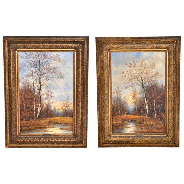 Antique Pair of Vertical Landscapes Oil on Canvas by C. Rieder (1840-1905), Circa 1880
