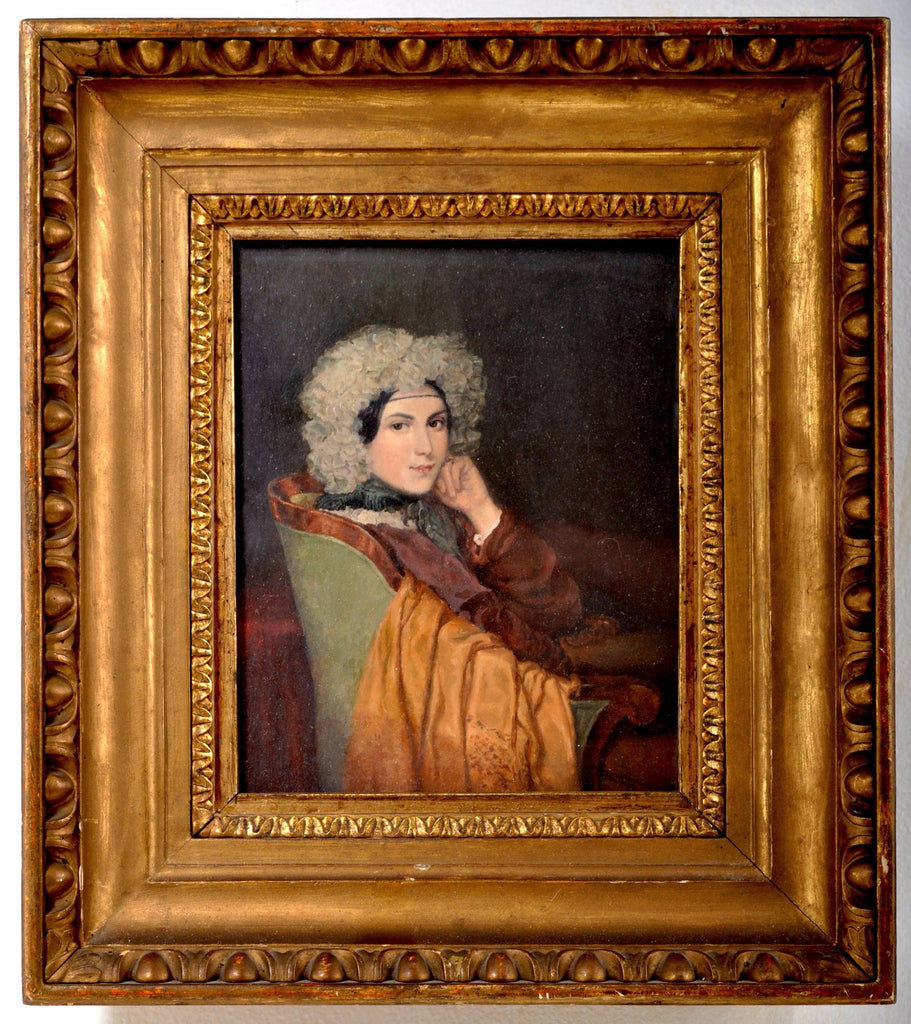 "Oil on Panel, ""Portrait of Nina Eberlin"" a Well Known Socialite of the 19th Century, From the Nina Pauly Estate, Circa 1880"