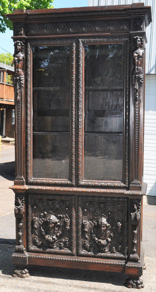 Antique French Carved Walnut Bookcase/Cabinet, Circa 1860