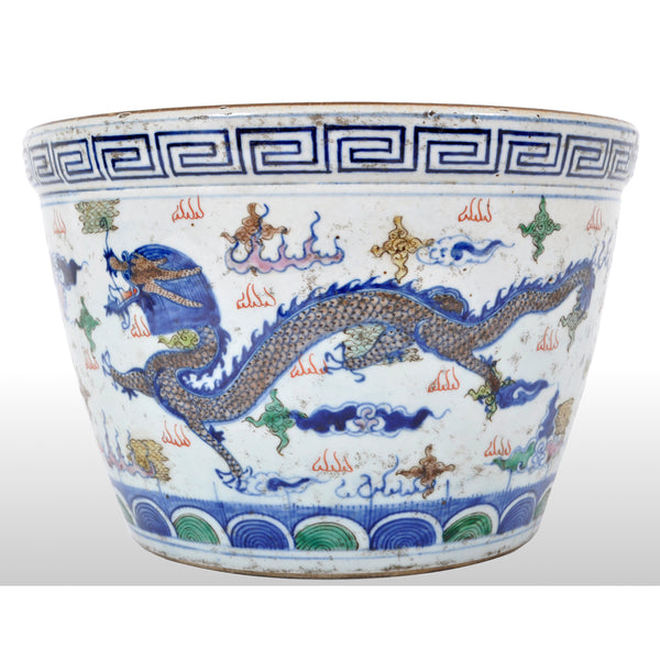 Antique Chinese Qing Dynasty Wucai Kangxi Period Porcelain Dragon Censer Bowl