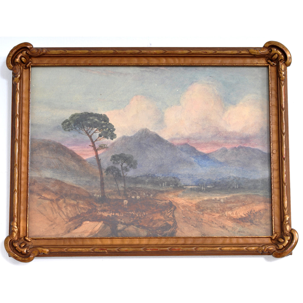Antique Scottish Impressionist Watercolor Landscape Painting of Dunbartonshire by Alexander Kellock Brown (Scotland, 1849-1922), 1881