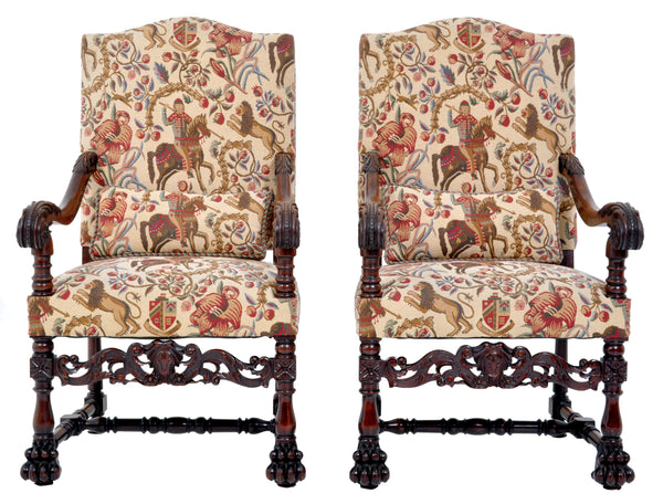 Pair of Antique Baroque Carved Mahogany Throne Chairs, circa 1870