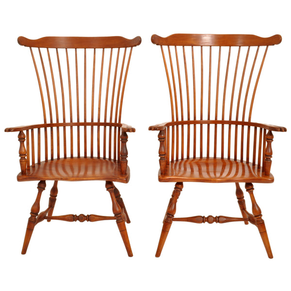 Pair of Antique Cherry Comb Fan Back Windsor Arm Chairs, Pennsylvania, circa 1900