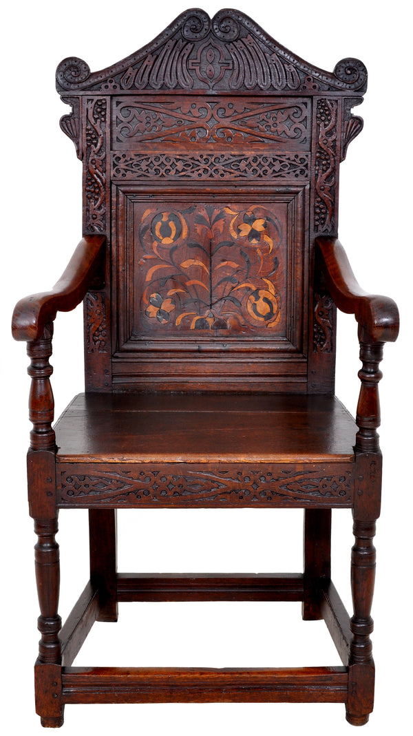 Antique 17th Century Charles II Yorkshire Carved Inlaid Oak Wainscot Chair, circa 1670