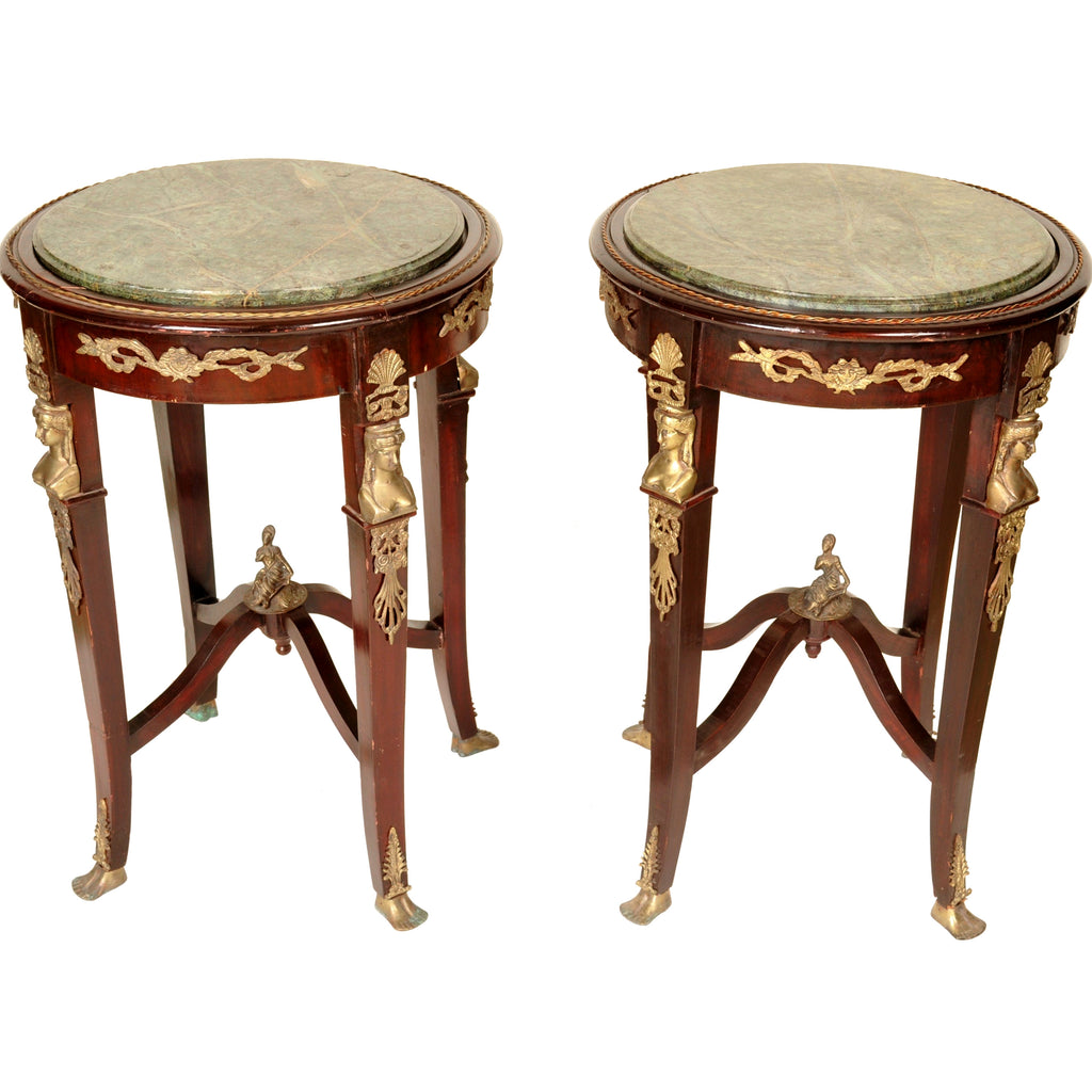 Pair of Antique French Egyptian Revival Marble Topped Tables, 1920s