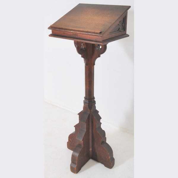 Antique Gothic Revival Oak Church/Altar Lectern, 1906