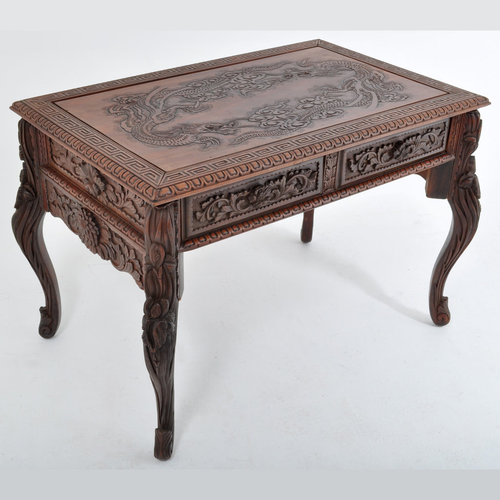Antique Japanese Carved Dragon Library Table, Circa 1890