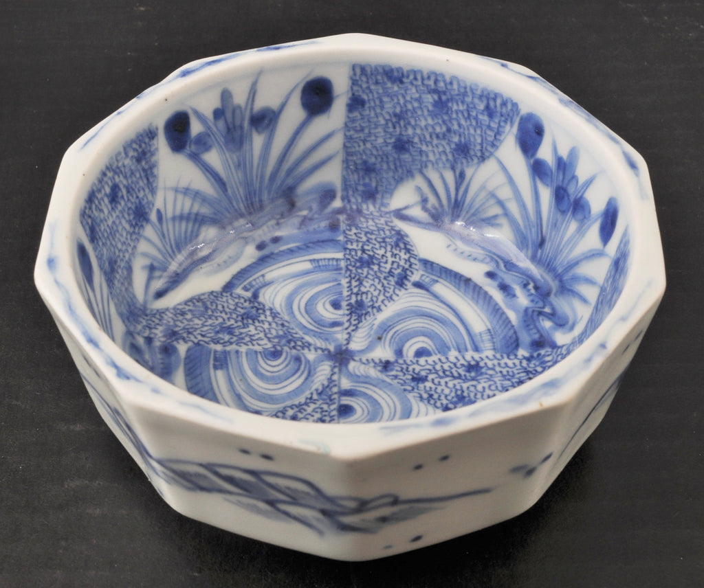 Unusual Antique Japanese Meiji Period Blue & White Octagonal Imari Bowl, Circa 1890