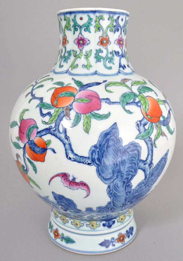 Antique 19th Century Chinese Qing Dynasty Porcelain Doucai Vase