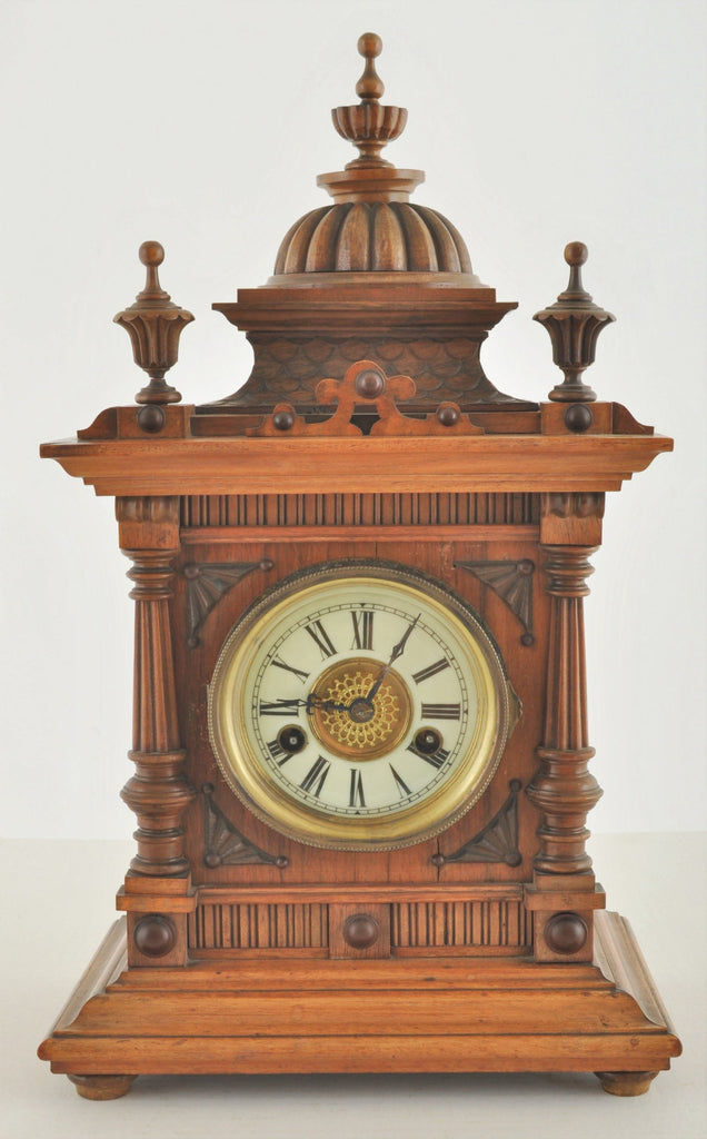 "Antique German Wertenberg ""Greenwich"" 8-Day Time and Strike Mantel Clock Retailed by W. E. Watts of Nottingham, circa 1880"