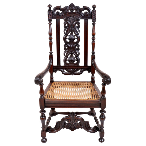 Antique Baroque Carved Walnut Throne Chair, circa 1880