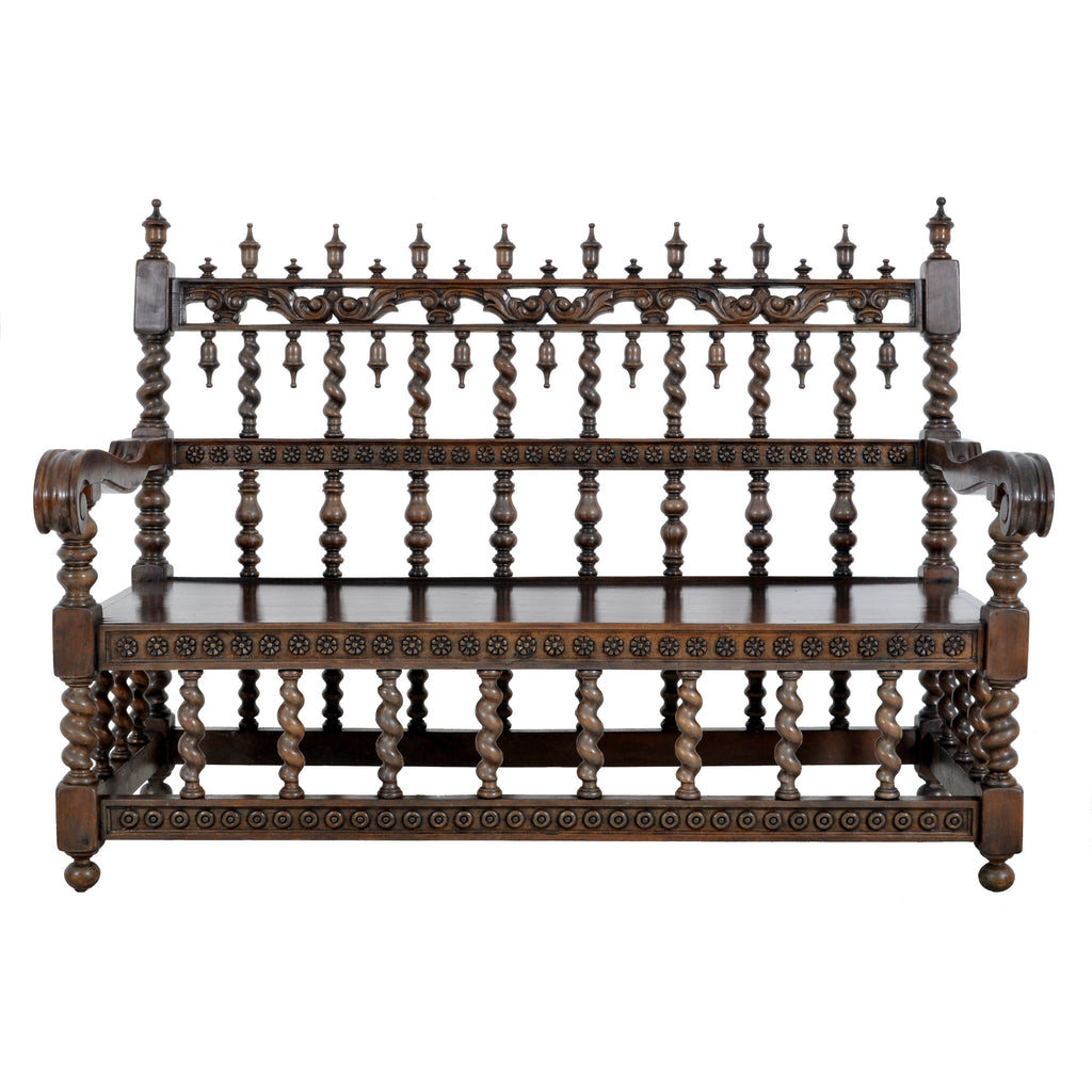 Antique Spanish Moorish Baroque Walnut Carved Barley-Twist Bench, circa 1850