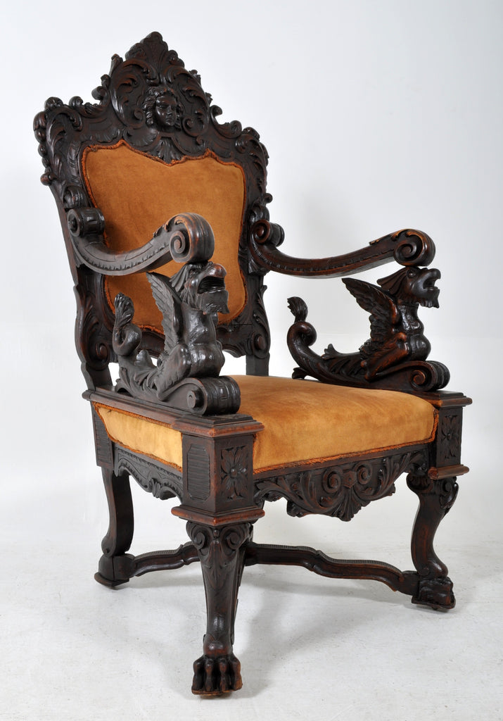 Antique 19th Century Carved Ebonized Walnut Baroque Griffin Chair, Circa 1870