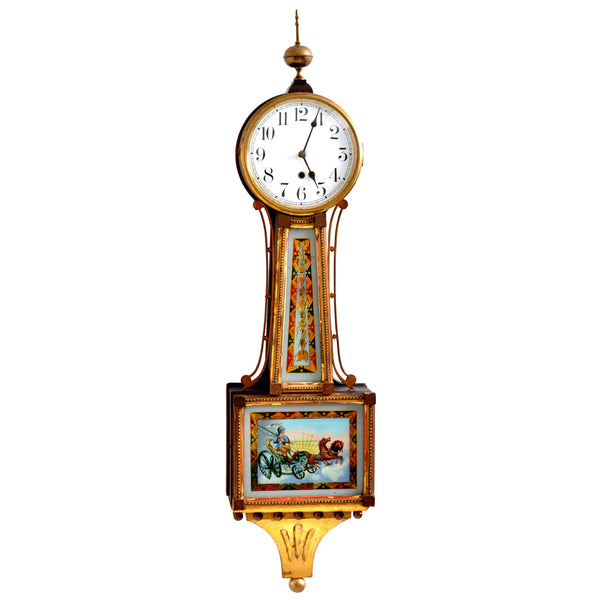 "Antique American Waterbury Willard 8 day Eglomise ""Aurora"" #6 Banjo Clock, circa 1908"