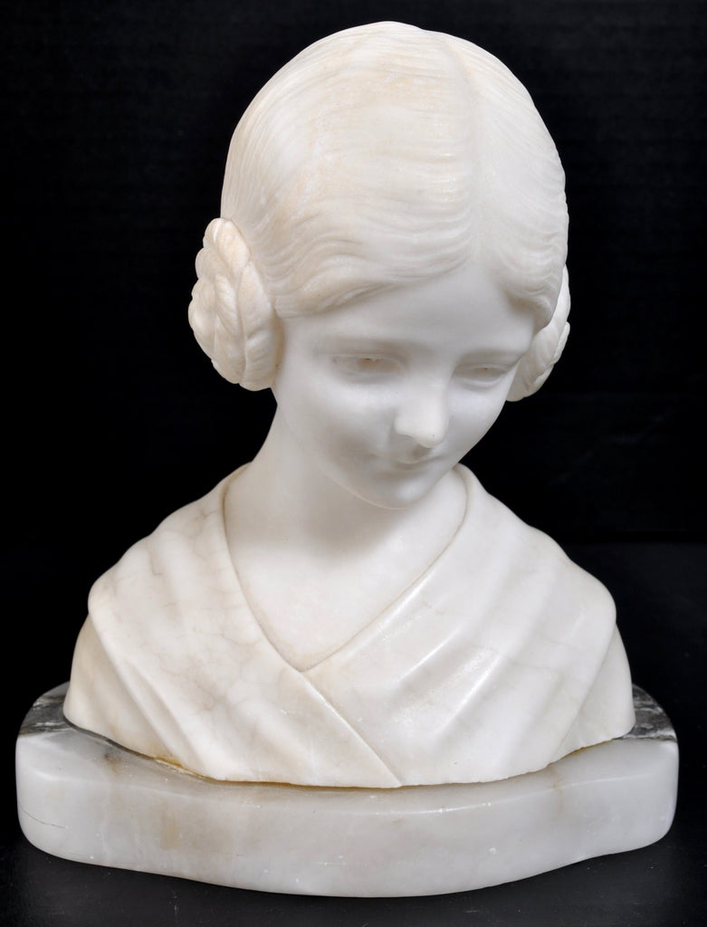 Carved Italian Florentine Marble and Alabaster Bust/Statue, Circa 1890