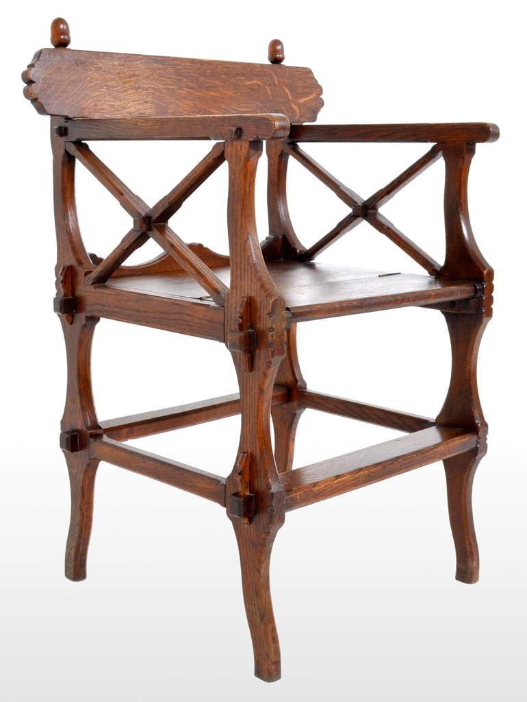 Antique Gothic Revival Arts & Crafts Metamorphic Oak Library Steps/Chair, A.W. Pugin, Circa 1860
