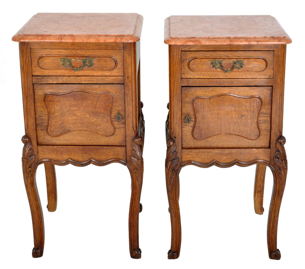 Pair of Antique French Provincial Carved Oak Marble Top Night Stands, circa 1890