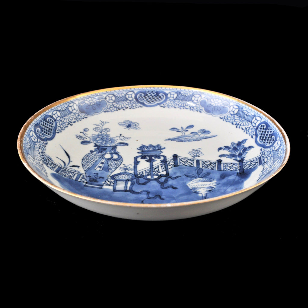 Antique Chinese Qing Dynasty Blue & White Plate, Circa 1850