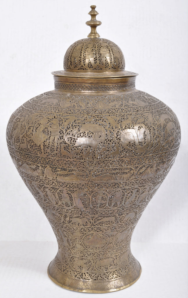 Antique Indian Hindu Brass Engraved & Pierced Lidded Vase/Lamp/Incense Burner, Circa 1850