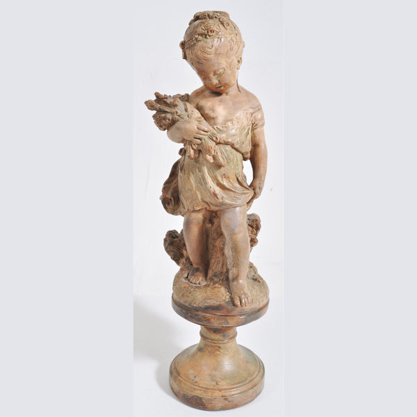 Antique French Belle Epoque Period Terracotta Figure, Circa 1860