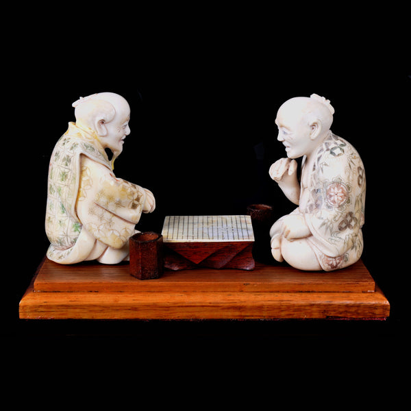 Antique Japanese Meiji Period Ivory Figural Group / Okimono, Go Players, circa 1890