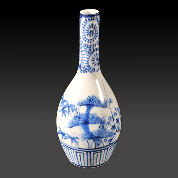 Antique Japanese Meiji Period Blue & White Bottle Shaped Vase, Circa 1890