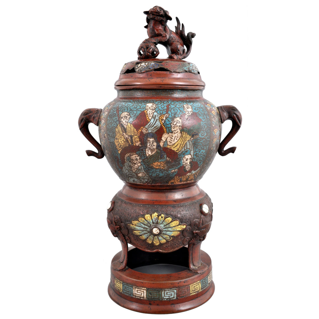 Antique Chinese Qing Dynasty Archaic Style Bronze Enamel Champlevé Censer / Incense Burner, Circa 1880