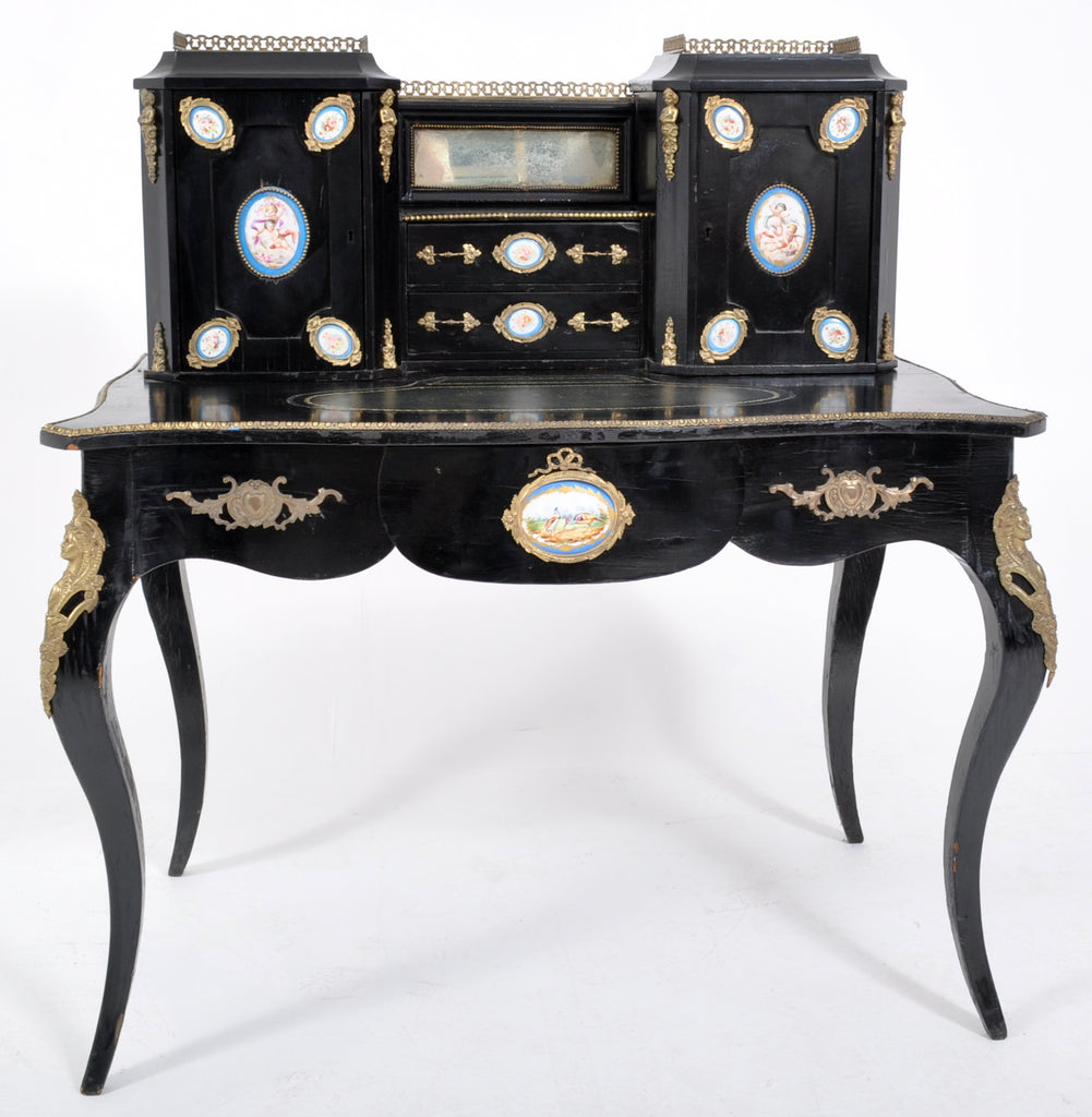 Antique French Louis XVI Japanned and Ormolu Sevres Porcelain Writing Desk, Circa 1860