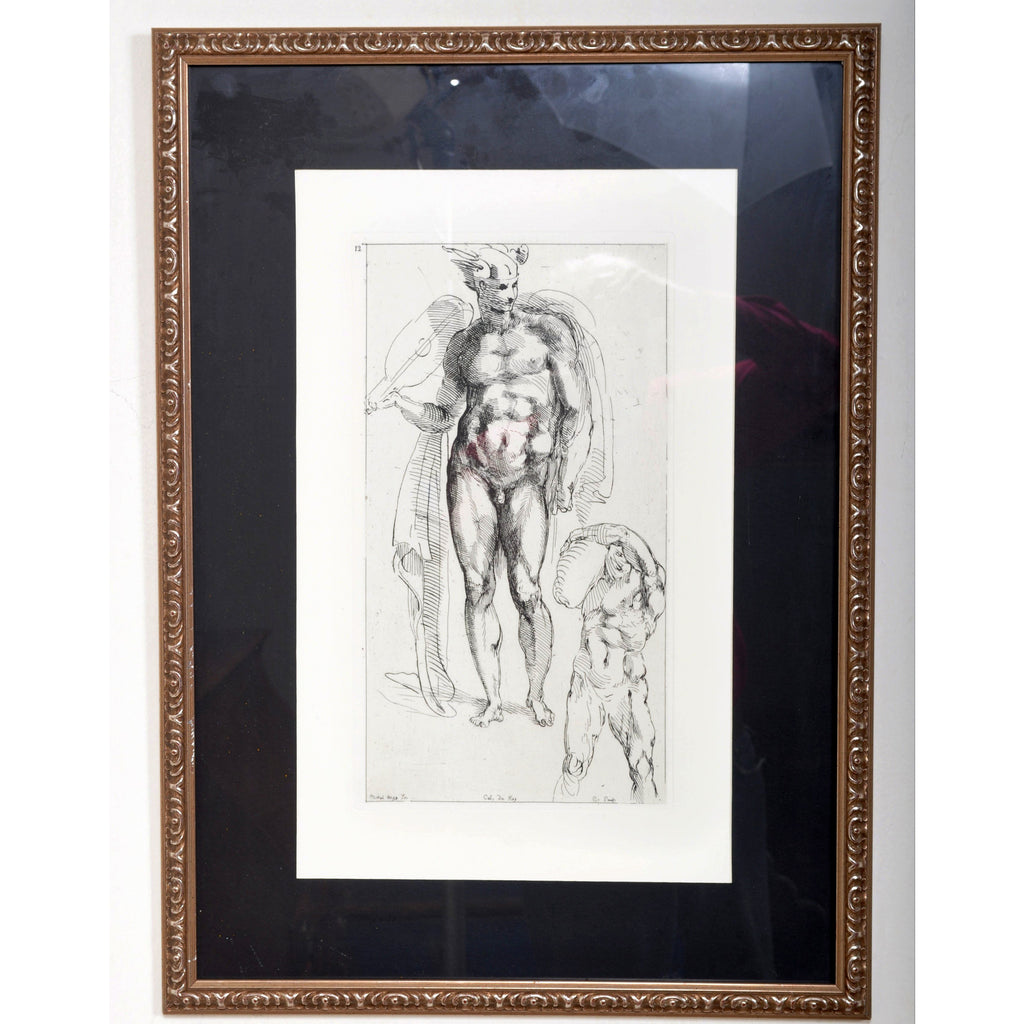 19th Century French Engraving of a Michelangelo Drawing