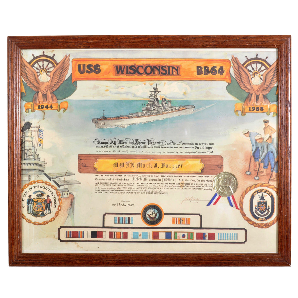 Certificate of Plank Ownership of the USS Wisconsin [BB64], 1988