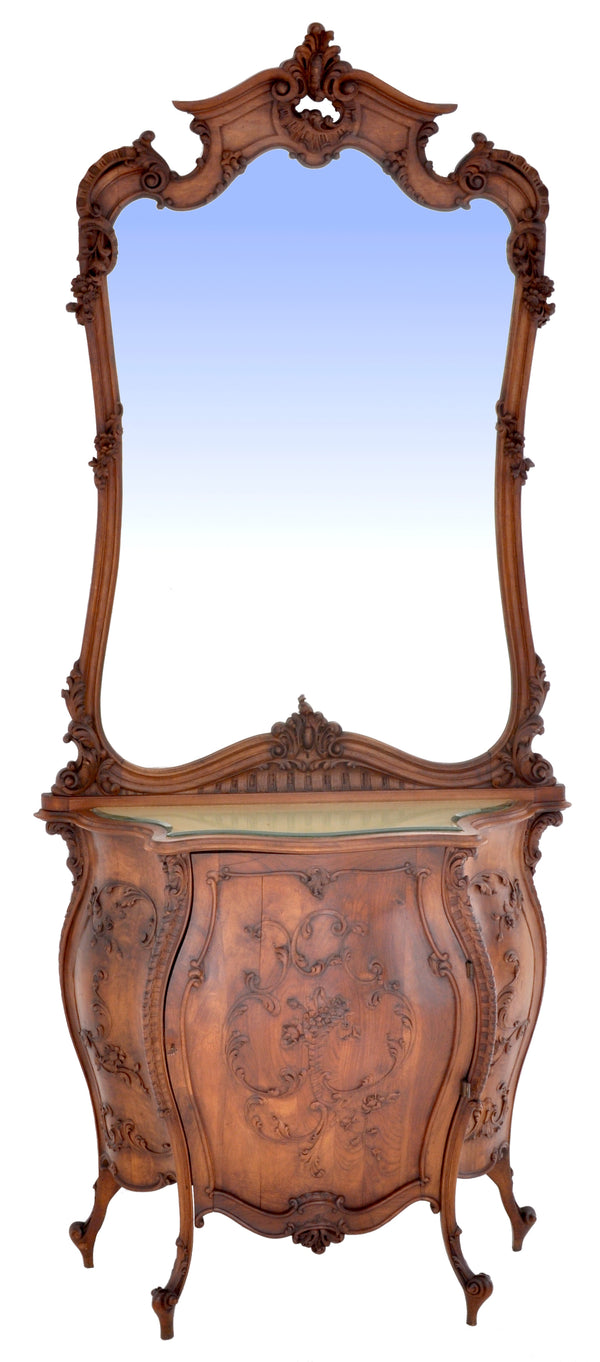 Antique Italian Rococo Walnut Bombe-Shaped Mirrored Cabinet / Buffet / Server, Circa 1880