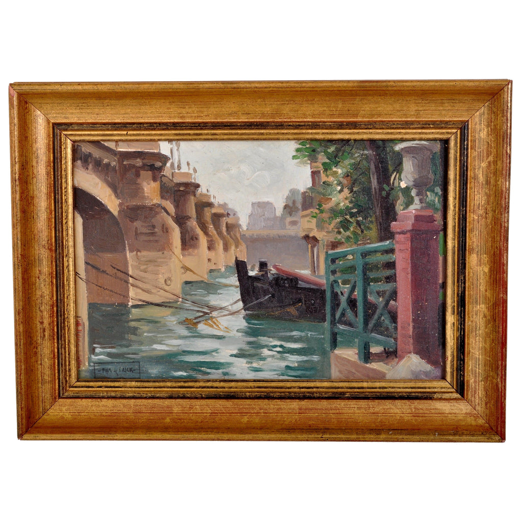 "Antique French Impressionist Oil on Panel by Paul de Frick, ""River of Bridge,"" Circa 1905"